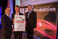 Proud winners: Dr Thomas Steffen, Rittal's Managing Director, Research and Development (m.), Heiko Holighaus, Director of Pre-Development (r.) and developer Juan Carlos Cacho Alonso (l.) accepted the German Industry Innovation Award.